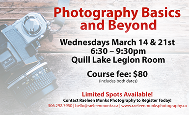 Photography Workshop – March 14 & 21, 2018