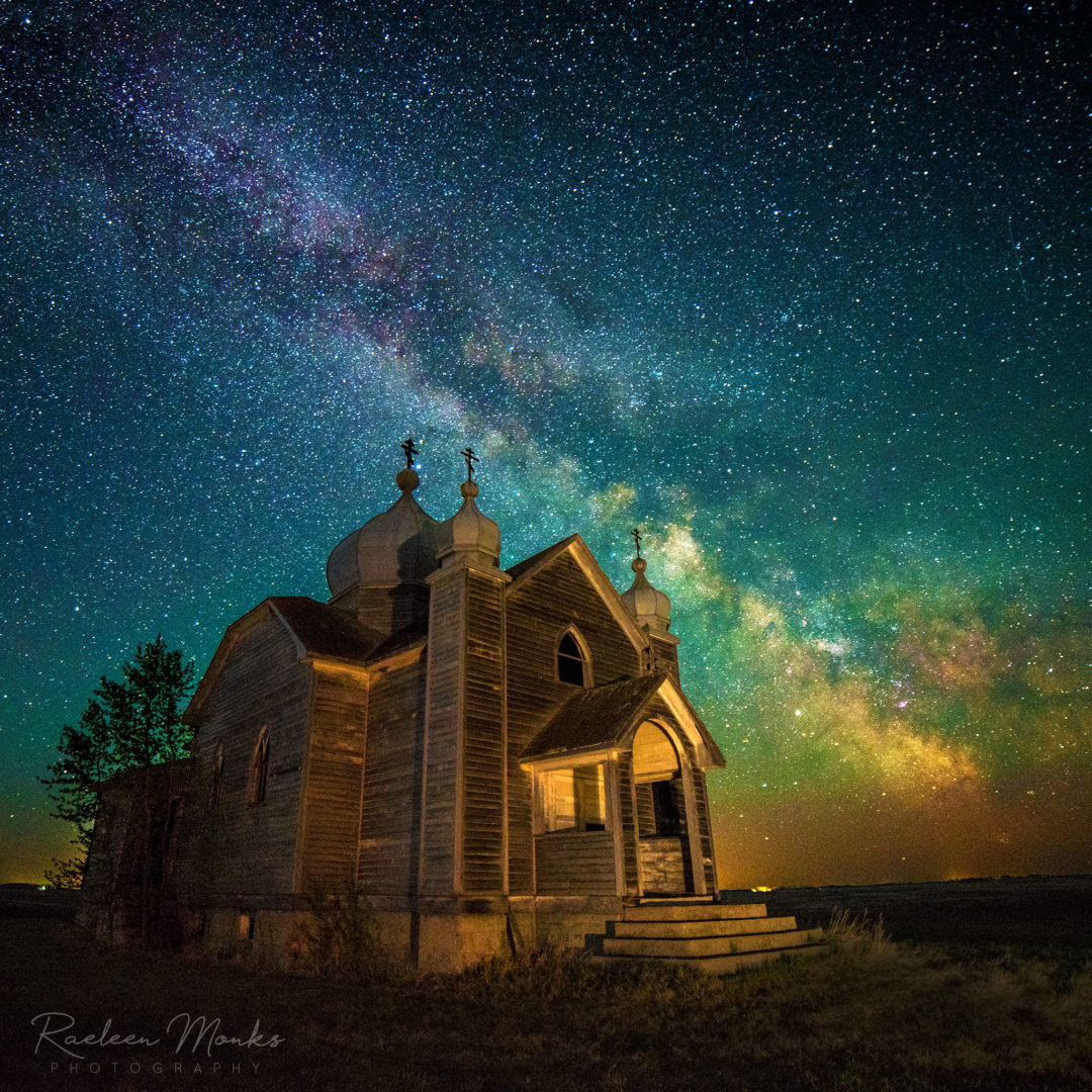 milky way over an abandoned church in Saskatchewan