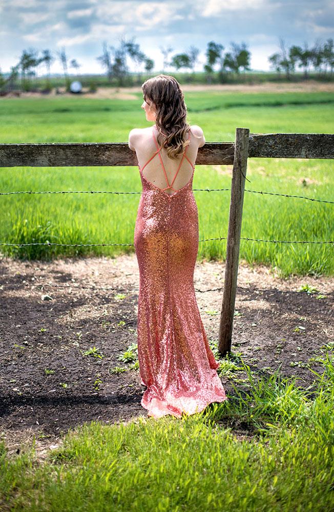 Sequinned Dress Farm Girl Grad Photo